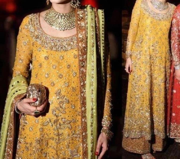 Latest mehndi dresses for brides 2013 (1)