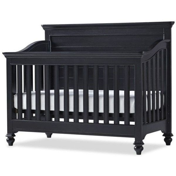 Smartstuff Black & White Wood Convertible Crib ($860) ❤ liked on Polyvore featuring home, children's room, children's furniture and nursery furniture