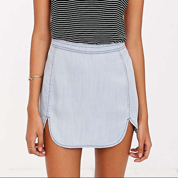 Urban outfitters BDG dolfin hem mini skirt New Urban outfitters BDG dolfin hem mini skirt. Washed but never worn. Color is indigo. Like Brandy Melville, Free people, anthropologie Urban Outfitters Skirts Mini