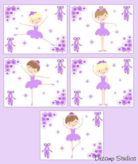 BALLERINA WALL ART Prints Purple Girl Floral Nursery Room