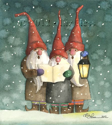 CAROLING GNOMES Watercolor by Liz Hess (www.lizhess.com)