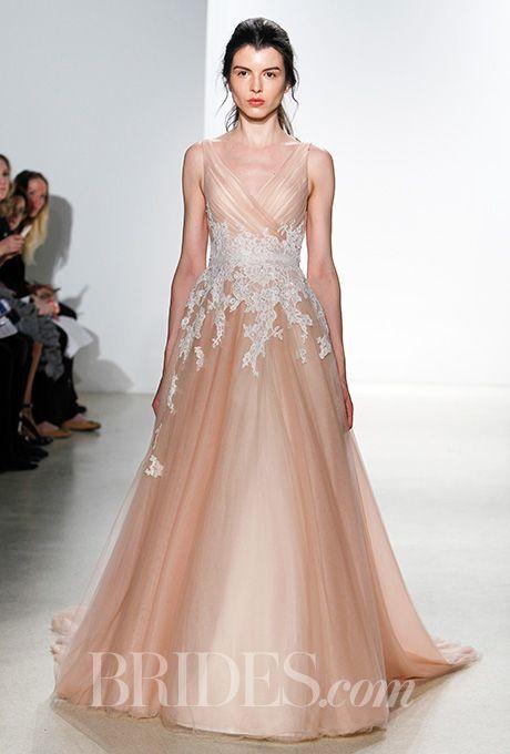 An apricot-colored @kellyfaetanini wedding dress   Brides.com