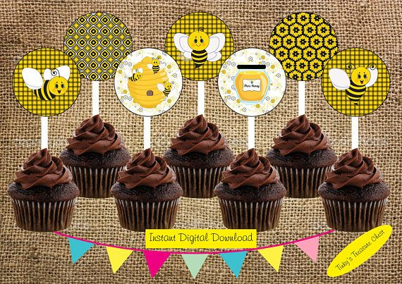 Digital Instant Download Bumble Bee  Cupcake Toppers. JPG. 2