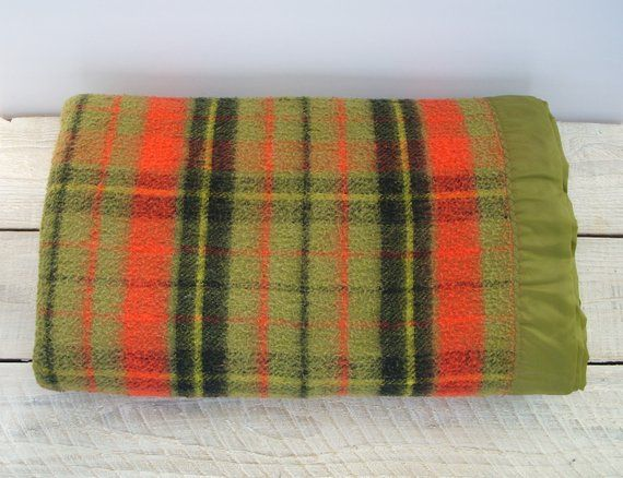 Vintage Plaid Camp Blankets Camping Picnic Hunting Lodge Stadium Blanket Rustic Cabin Decor Throw Green Red Black Home Accessories