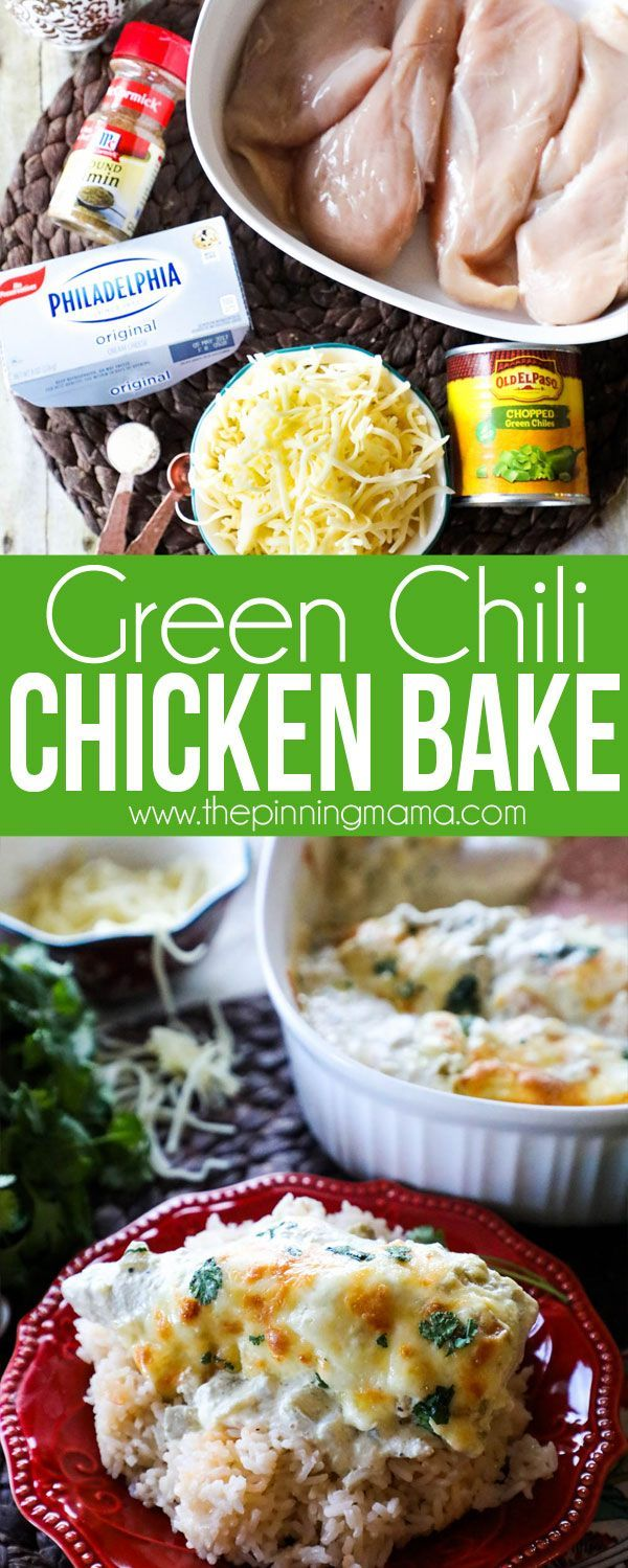 Green Chili Chicken Bake Recipe- Creamy, delicious, one dish quick and easy dinner recipe (Ingredients Substitutions Low Carb)
