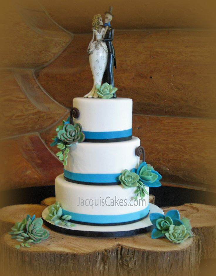 Erins Aqua Succulents Wedding Cake Sugarpaste Rest On The Tiers Of This