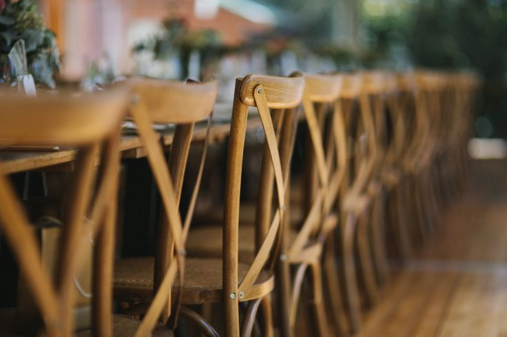 cross back timber chairs, marquee weddings, vintage timber trestle tables, south coast weddings, south coast party hire