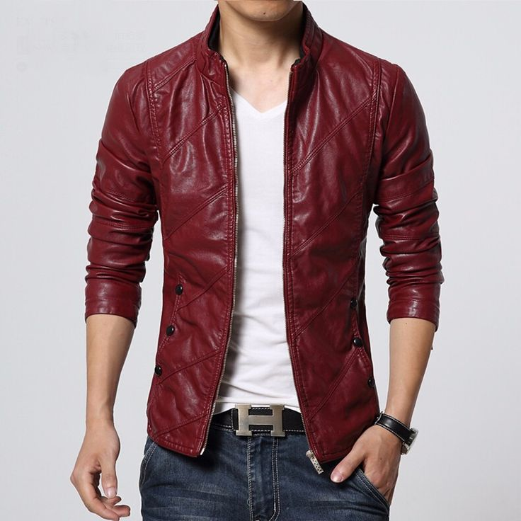 Big Size Pu Leather Biker Jacket Male Slim Fit Zipper Up Motorcycle Red Leather Jacket  Men Plus Size 5XL 6XL