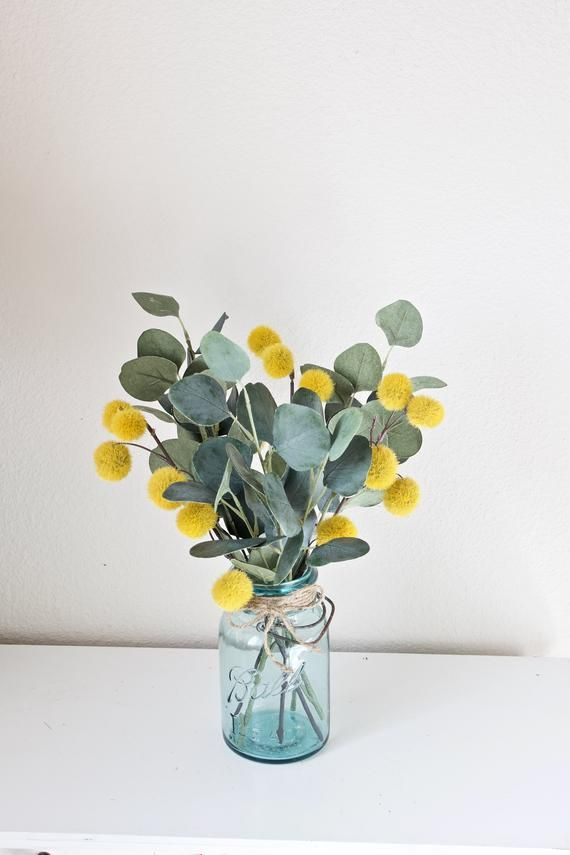 Farmhouse Decor, Eucalyptus Decor, Farmhouse Centerpiece, Table Decor, Mason Jar Decor, Fall Decor, Eucalyptus and Billy Button
