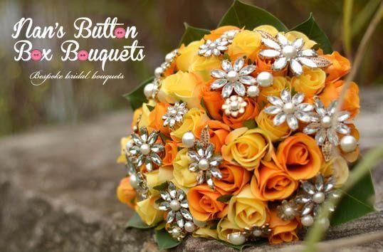 Nan's Button Box Bouquets- love this artificial flower and brooch bouquet. #brooch bouquet