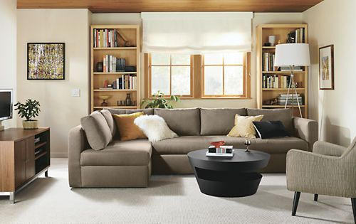 """Oxford 123"""" Queen Pop-Up Platform Sleeper Sofa with Left-Arm Chaise Room & Board.  123w 67d 27h (34h with cushion)."""