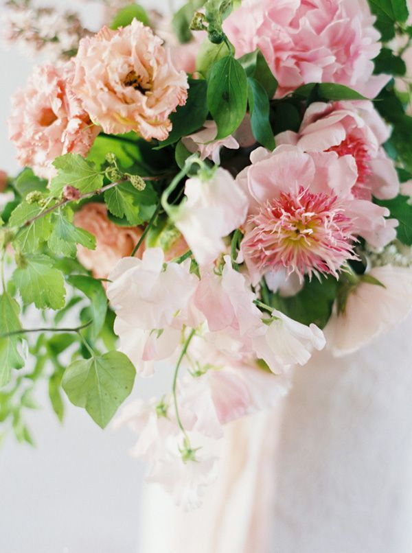 Sweet Pea and Peony Bouquet in Pale Pink | Heather Hawkins Photography | http://heyweddinglady.com/floral-romance-blush-peonies-spring-wedding/