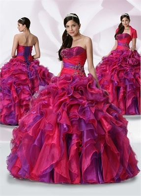 Ball Gown Strapless Floor-length with Ruffles Organza quniceanera dress QD093