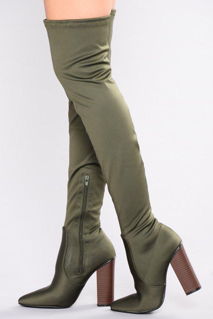 Chaussures femme Overknee botte High Heels Olive 40 exjjxyU16