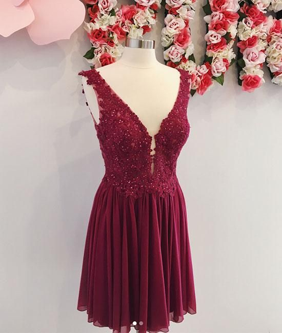 ef47e4c596c Simple Burgundy Lace V-Neck Short Prom Dress