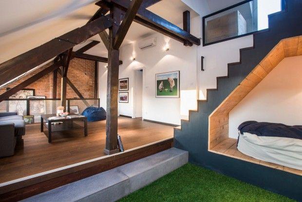 3STORIES, rénovation d'un appartement à Budapest par Gaspar Bonta - Journal du Design, aménagement combles, cabane escalier