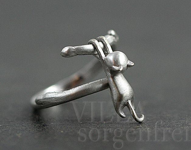 Silberring aus 925er Silber für Katzenfans, hübsches Accessoire / Silver ring…