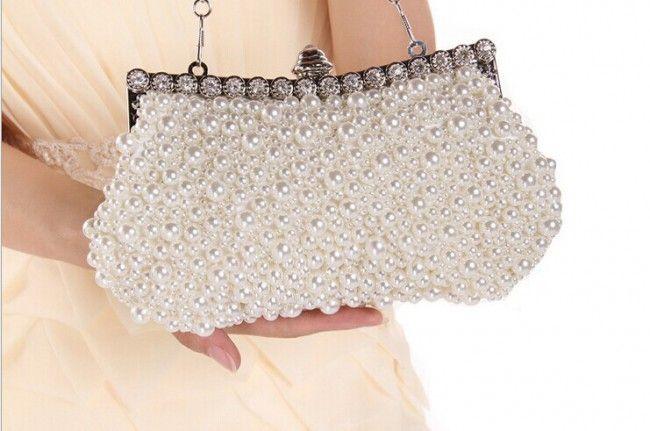 Women's Elegant Pearl Evening Bag Clutch #ClutchBag #ClutchBags