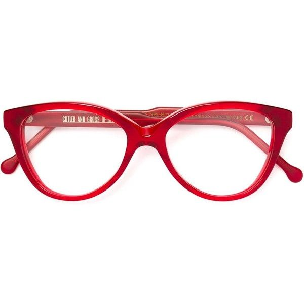 Cutler & Gross cat eye frame glasses ($425) ❤ liked on Polyvore featuring accessories, eyewear, eyeglasses, red, cutler and gross, red eye glasses, acetate glasses, cat eye eyeglasses and red eyeglasses