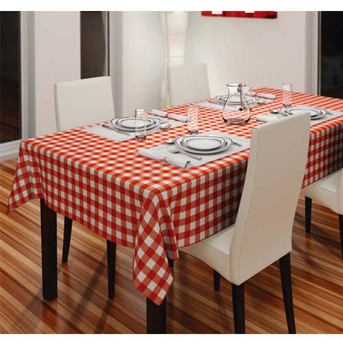 Affordable PVC Wipe Clean Vinyl Table Cloth - Gingham Check Red 140cm x 183cm for your home