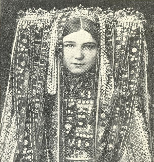 """headdress Czech woman, scanned from """"Peoples of the world in pictures"""""""