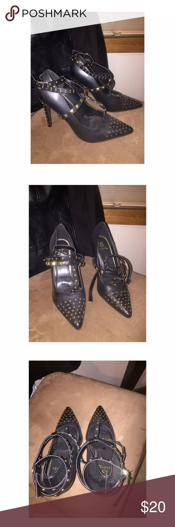 Shoe dazzle black studded pumps size 9 Shoe dazzle brand! Black studded pumps. Worn once for a bachelorette party. Can take pictures with them on if needed Shoe Dazzle Shoes Heels