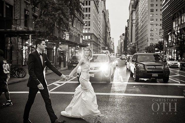 Brides: New York City Real Wedding Photos: A Chic, Minimalistic Wedding at Manhattan Penthouse