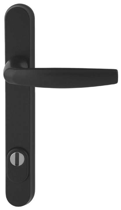 Hoppe Atlanta Black Security Multipoint Handles 92mm Powder coated black finish cast aluminium multipoint handle on backplate. This handle has been security tested and is (PAS 24 accredited). Suitable for use on composite and PVCu doors up to 70mm thick http://www.MightGet.com/january-2017-12/hoppe-atlanta-black-security-multipoint-handles-92mm.asp