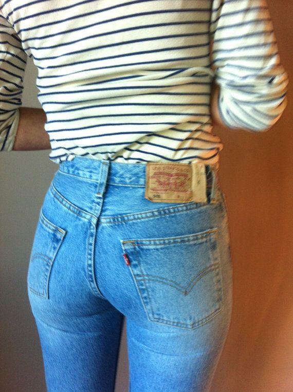 Vintage Levis 501 Jean 28/30 hohe Taille von FrenchMadeleine Mehr