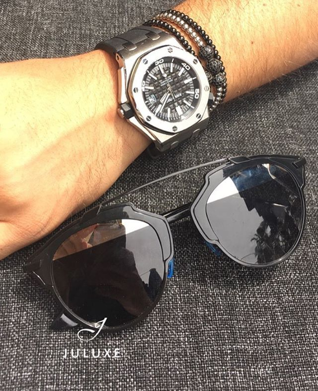Summer Essentials - Christian Dior sunglasses, AP Royal Oak Offshore watch and Juluxe bracelets. That's JULUXE  #juluxe #juluxeworld #mensaccessories #mensfashion #christiandior #diorsunglasses #audemarspiguet #summervibes