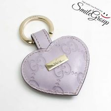 Auth GUCCI Gucci Shima Heart Key Ring 199915 Keychain Lavender Leather