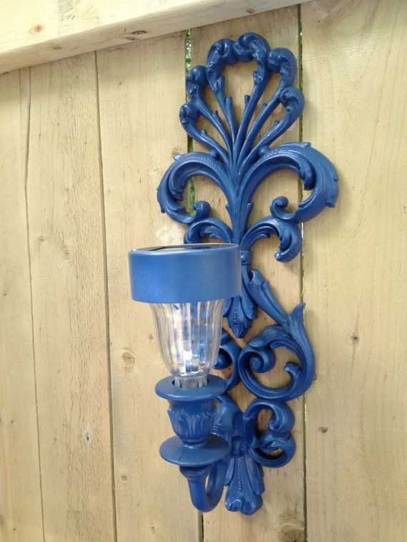 Set of Two Outdoor Solar Light Sconces for Fence or Side of House. Outdoor Decor.