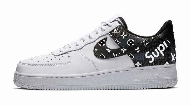 Bandana Fever Supreme Lv Monogram Print Custom White Black Nike Air Force Shoes Air Force Shoes Black Nikes Custom Nike Shoes