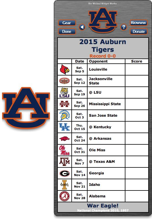 Free 2015 Auburn Tigers Football Schedule Widget - War Eagle! - National Champions 2010, 1957 http://riowww.com/teamPages/Auburn_Tigers.htm