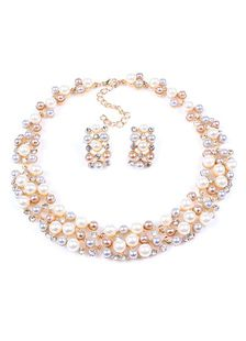 Conjunto de joyería del Metal Oro novia collar y pendientes perlas
