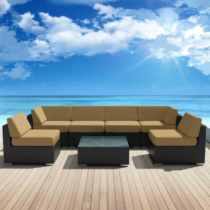 Genuine Luxxella Outdoor Patio Wicker Sofa Sectional Furniture BELLA 7pc Gorgeous Couch Set DARK BEIGE. Curbside delivery with signature required (We have nine different colors available. Check out our other products.). 7pc Set includes 2 Corner Sofas + 4 Middle Sofas +1 Coffee Table. Factory Direct Price (MSRP $3,299.00). 6 inch Thick Dark Beige Cushions with removable cover. All Weather PE Resin Wicker Couch Set provides a modular design, with many configuration options. All Luxxella...