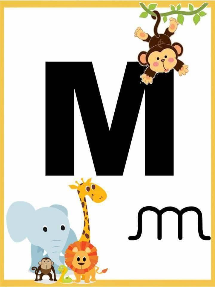 Alfabeto Com Letra Bastao E Cursiva Letra M Con Imagenes