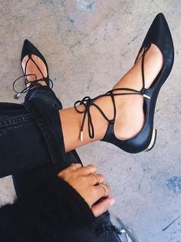 Black Lace Up Pointed Ballet Flats - MYNYstyle - 1