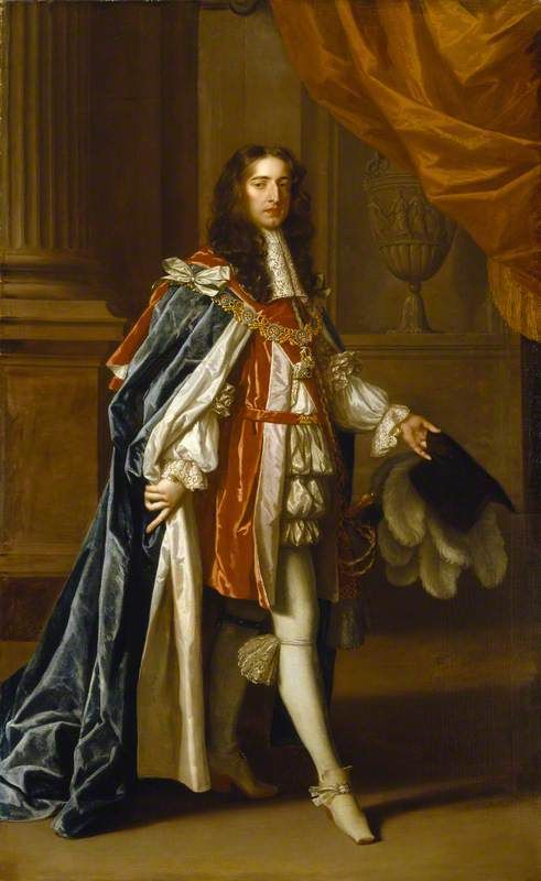 William III King of England, Scotland and Ireland was born on this day 4th November, 1650 in Holland, On the day after his 38th birthday he landed at Torbay, Devon with an army of English and Dutch troops, and when Parliament declared the throne empty he was proclaimed king (William III (1650–1702), as Prince of Orange in Garter Robes)