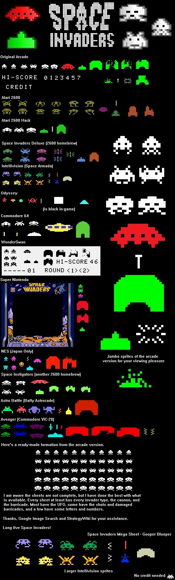 Space Invaders Sprite Sheet by GooperBlooper22