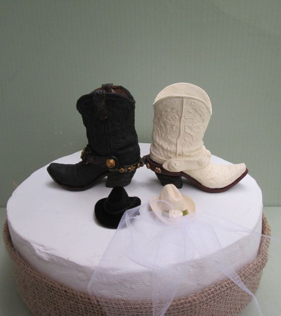 Cowboy Boot Wedding Cake Topper Country By Thecreativebride
