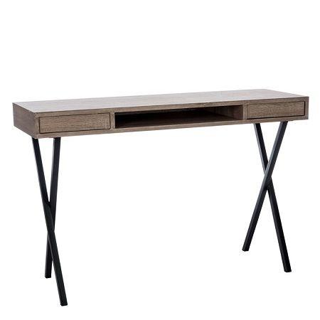 Eenvoudig en functioneel, is dit houten bureau gemonteerd op een X-vormig onderstel.Bureau Scandinavisch eenvoudig design