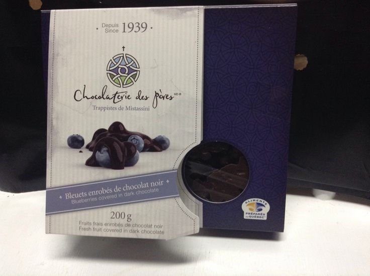 wild blueberries covered in dark chocolate/bleuets sauvages enrobés de chocolat  $14.95