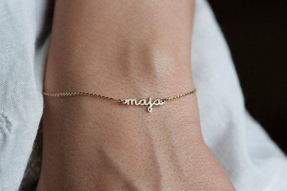 Tiny Name Bracelet 14K Gold Name Bracelet Birthstone by capucinne