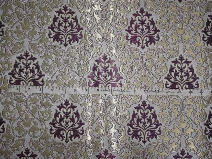Heavy Silk Brocade Purple, Ivory x Metallic Gold Color 36""