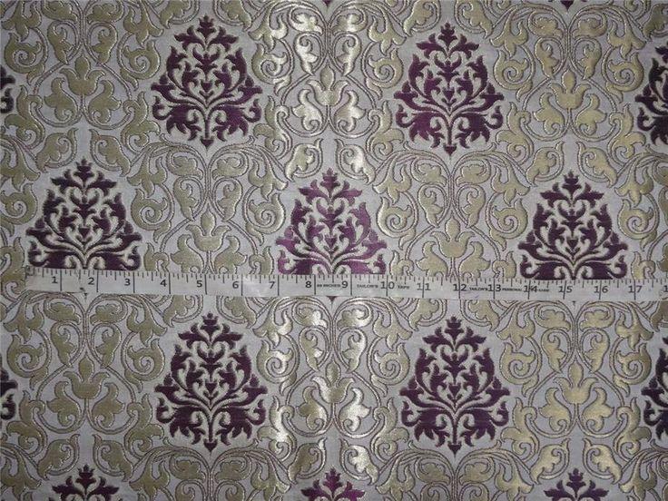 "Heavy Silk Brocade Purple, Ivory x Metallic Gold Color 36"""