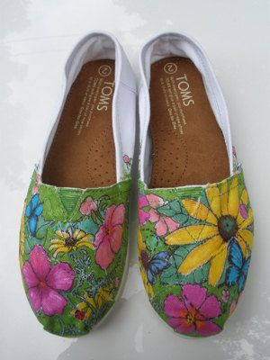 Flowers & Butterflies Toms Shoe by dlnquentunicorn on Etsy, $75.00