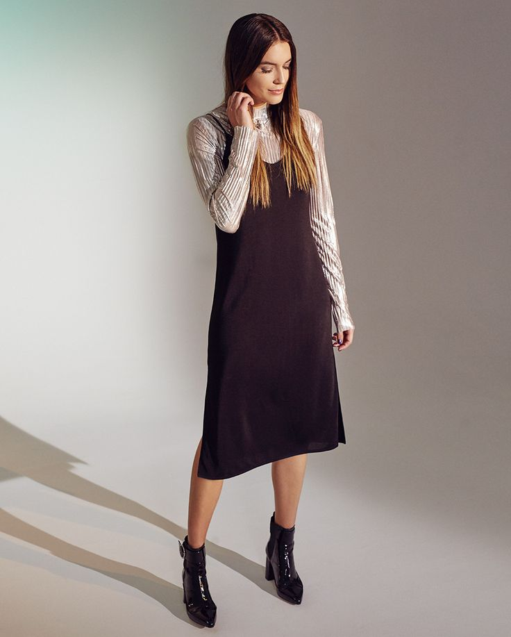 H&M Pleated Top $35 H&M V-Neck Jersey Dress $30 H&M Patent Ankle Boots $60 H&M Hoop Earrings $4