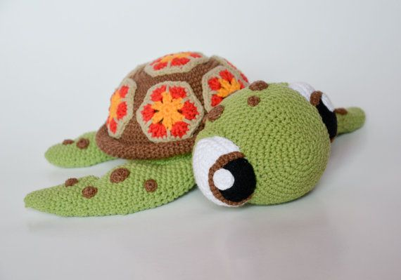 **Please note, this listing is for the PATTERN only, not the finished toy!**  Squirt - sea turtle from Finding Nemo Disney / Pixar animated movie.  Crochet turtle when finished is 30 cm (12 inches) from head to the end of back legs, also he is the cutest toy I have ever made! :) I am totally in love - Hope you will be too!  This 16 page PDF tutorial contains many photos and detailed instructions on how to crochet the turtle. It is written in English with standard crochet terms. It contai...