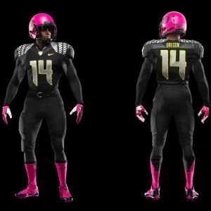 Nike revealed Thursday morning that the University of Oregon football team, which it sponsors and of which Nike chairman Phil Knight is an alumnus and its biggest booster, will wear pink cleats, socks, gloves and helmets for its home game against Washington State on Saturday in support of October's Breast Cancer Awareness Month.